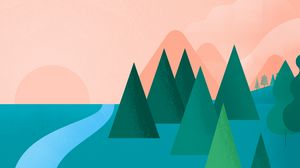 Preview wallpaper art, trees, drawing, minimalism