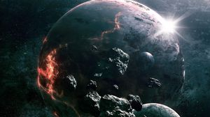 Preview wallpaper asteroids, planets, collision, light, space