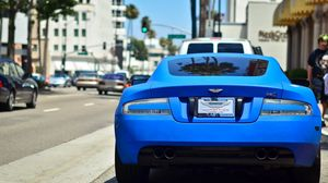 Preview wallpaper aston martin, blue, cars, rear view