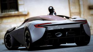Preview wallpaper aston martin, rear view, black, sports car