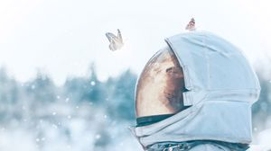 Preview wallpaper astronaut, butterflies, spacesuit, space, light