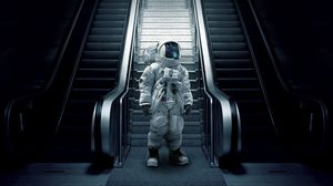 Preview wallpaper astronaut, cosmonaut, spacesuit, escalator, stairs