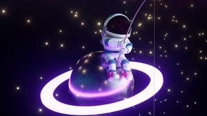 Preview wallpaper astronaut, fisherman, planet, glow, stars, art