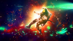 Preview wallpaper astronaut, flash, bright, colorful, sparks