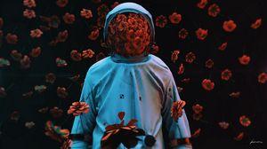 Preview wallpaper astronaut, flowers, spacesuit, gravity, 3d