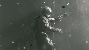Preview wallpaper astronaut, gravity, spacesuit, jump, gray