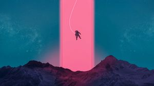 Preview wallpaper astronaut, neon, art, space, mountains