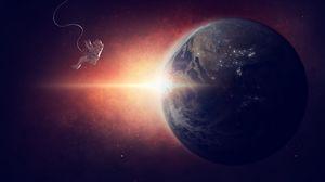 Preview wallpaper astronaut, planet, space suit, flight, photoshop
