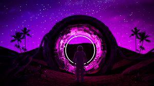 Preview wallpaper astronaut, ring, neon, glow, dark