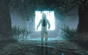 Preview wallpaper astronaut, silhouette, glow, light, portal, 3d