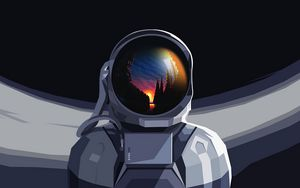 Preview wallpaper astronaut, spacesuit, reflection, sunset, art