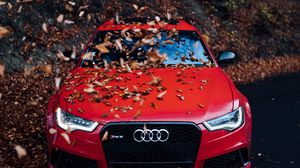 Preview wallpaper audi, car, front view, red, bumper, foliage, autumn