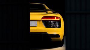 Preview wallpaper audi r8, audi, bumper, yellow, rear view