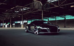 Preview wallpaper audi, r8, chrome, cw-5, matte black, black, side view