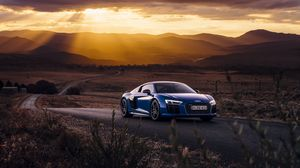 Preview wallpaper audi, r8, v10, side view, road