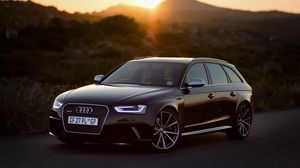 Preview wallpaper audi, rs4, side view, black, sunset