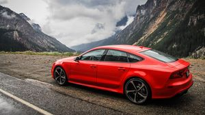 Preview wallpaper audi, rs7, red, side view, mountain