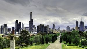 Preview wallpaper australia, melbourne, skyscrapers, nature, park, beautiful walk, buildings