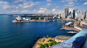 Preview wallpaper australia, sydney, beach, palm trees