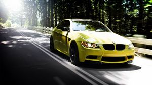 Preview wallpaper auto, bmw m3, yellow, road, forest, summer