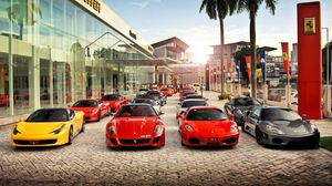 Preview wallpaper auto, ferrari, view, city