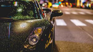 Preview wallpaper auto, front view, rain, drops