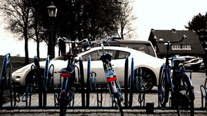 Preview wallpaper auto, white, bicycle, parking