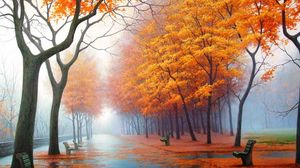 Preview wallpaper autumn, park, avenue, benches, trees, leaf fall, fog, steam, haze, path, asphalt, painting, art