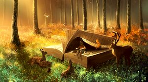 Preview wallpaper baby, book, animals, fairytale