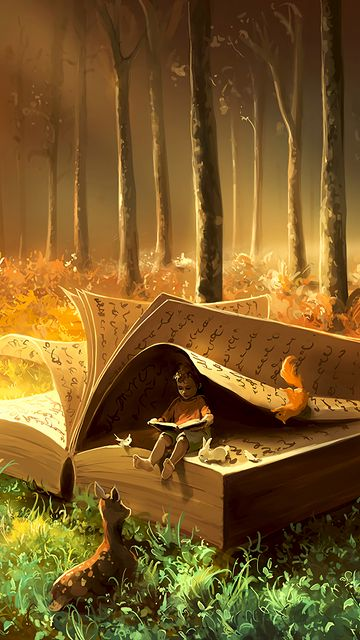 360x640 Wallpaper baby, book, animals, fairytale