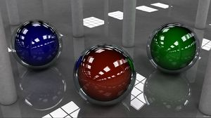 Preview wallpaper ball, colored, shape, surface, lights, glass