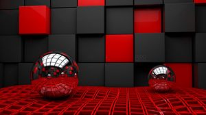 Preview wallpaper ball, cube, cubes, glass, metal, plastic