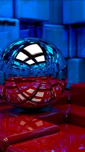 Preview wallpaper ball, cubes, metal, blue, red, reflection