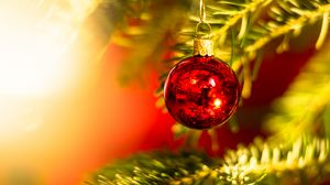 Preview wallpaper ball, decoration, red, christmas tree, new year, christmas