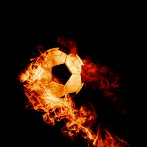 Preview wallpaper ball, fire, football, dark background, flame