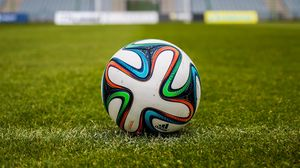 Preview wallpaper ball, football, field, grass