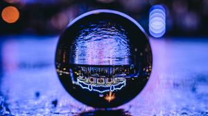 Preview wallpaper ball, glass, transparent, glare, bokeh