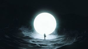Preview wallpaper silhouette, moon, ball, glow, dark