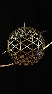 Preview wallpaper ball, sphere, ring, metallic, 3d