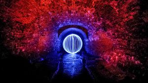 Preview wallpaper ball, tunnel, lights, walls