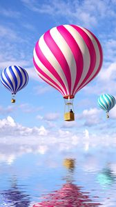 Preview wallpaper balloons, flight, sea, clouds