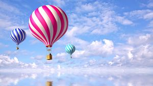 Preview wallpaper air balloons, flight, sea, clouds