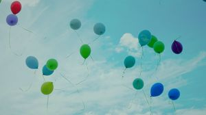 Preview wallpaper balloons, sky, flight, colorful, clouds, lightness