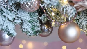 Preview wallpaper balls, garland, snow, christmas tree, new year, christmas