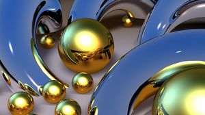 Preview wallpaper balls, patterns, metal, gold, 3d