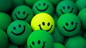 Preview wallpaper balls, smile, green, yellow