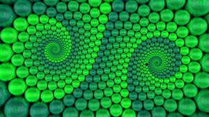 Preview wallpaper balls, spiral, rendering, rotation, green