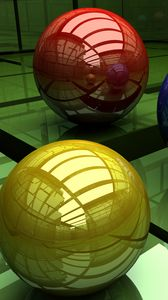 Preview wallpaper balls, three-colored, surface, cubic