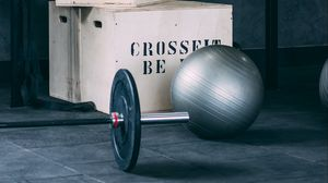 Preview wallpaper barbell, ball, boxes, gym, sport