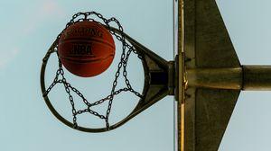 Preview wallpaper basketball, basketball ball, basketball hoop, chains